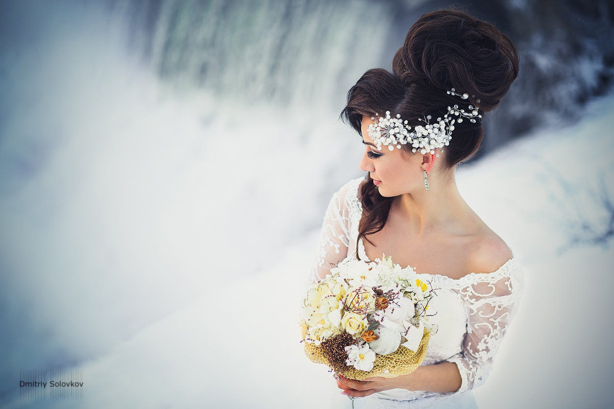 свадебные прически зима