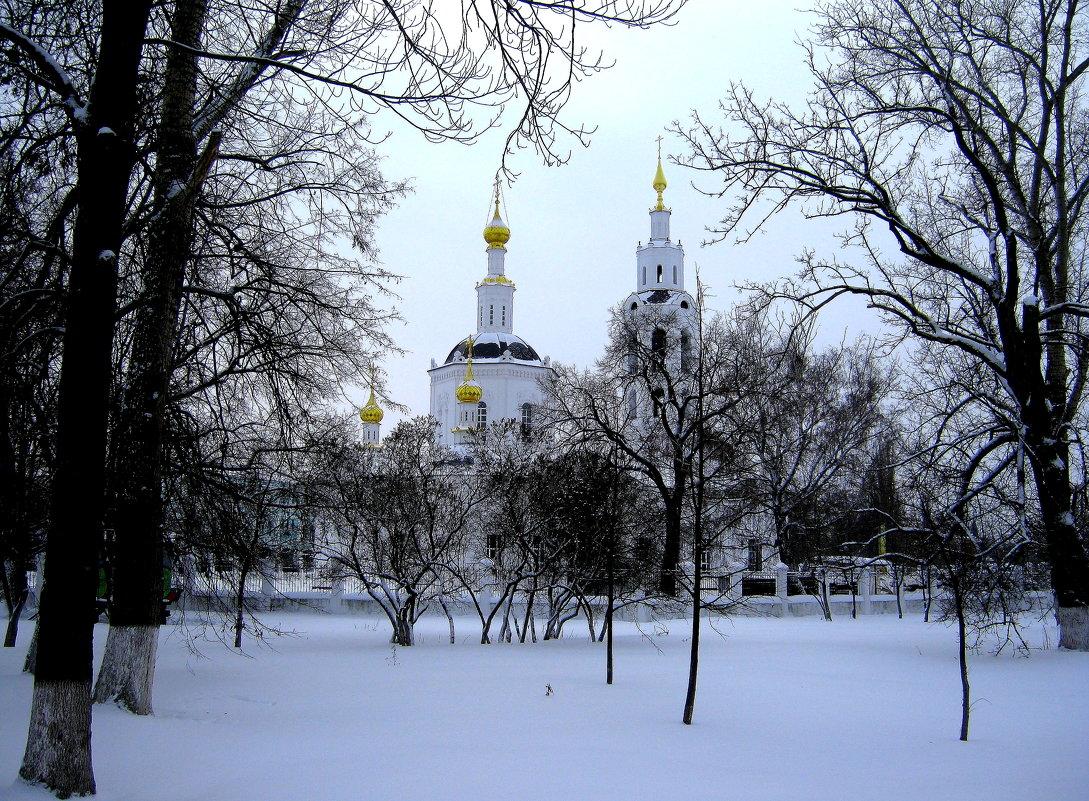 Зимний пейзаж с Богоявленской церковью. - Борис Митрохин