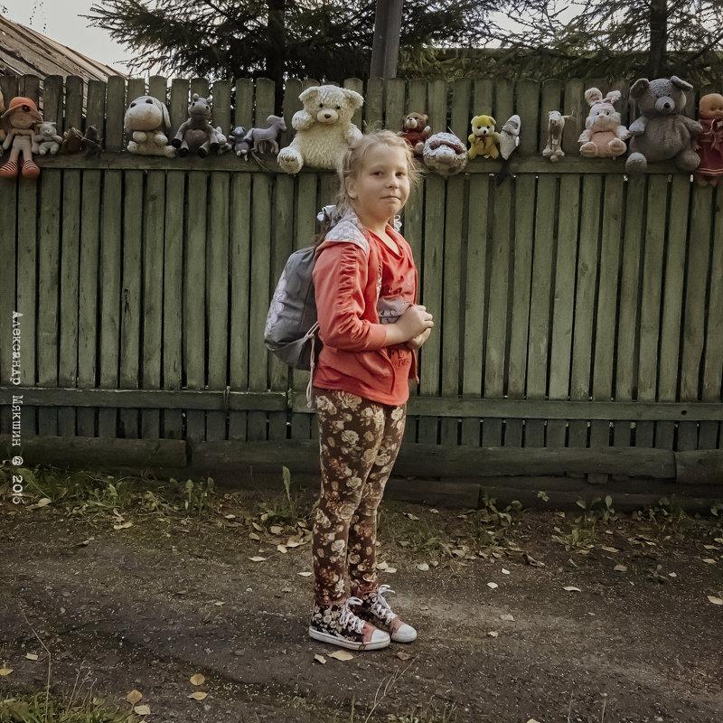 Портрет девочки на фоне забора с игрушками. - Алексадр Мякшин