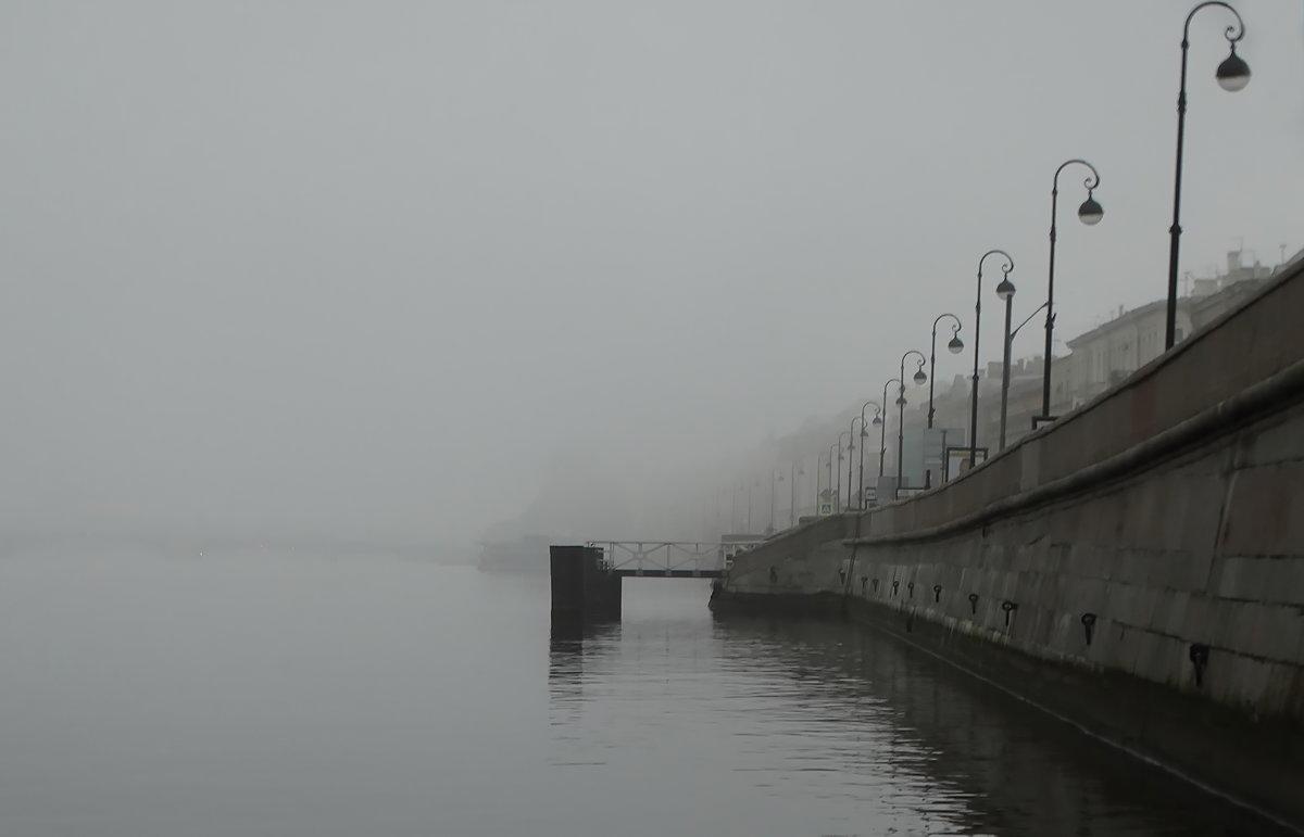 Река, набережная и туман. - Владимир Гилясев