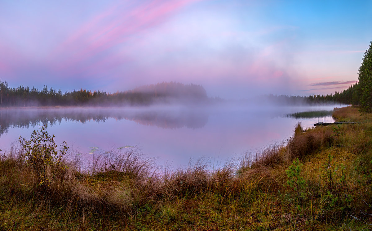 Туманная заря на озере. - Фёдор. Лашков