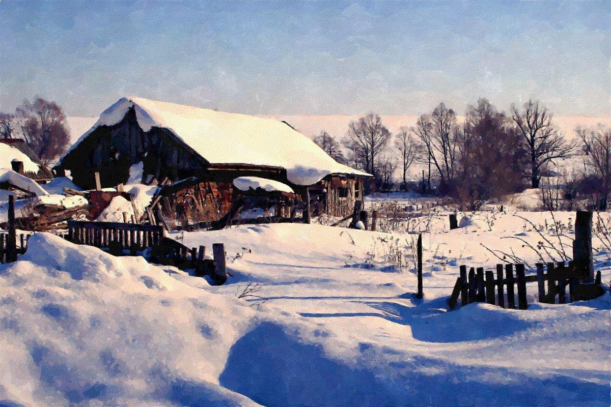 Хорошо зимой в деревне! - непочатый снега край ... - Евгений Юрков