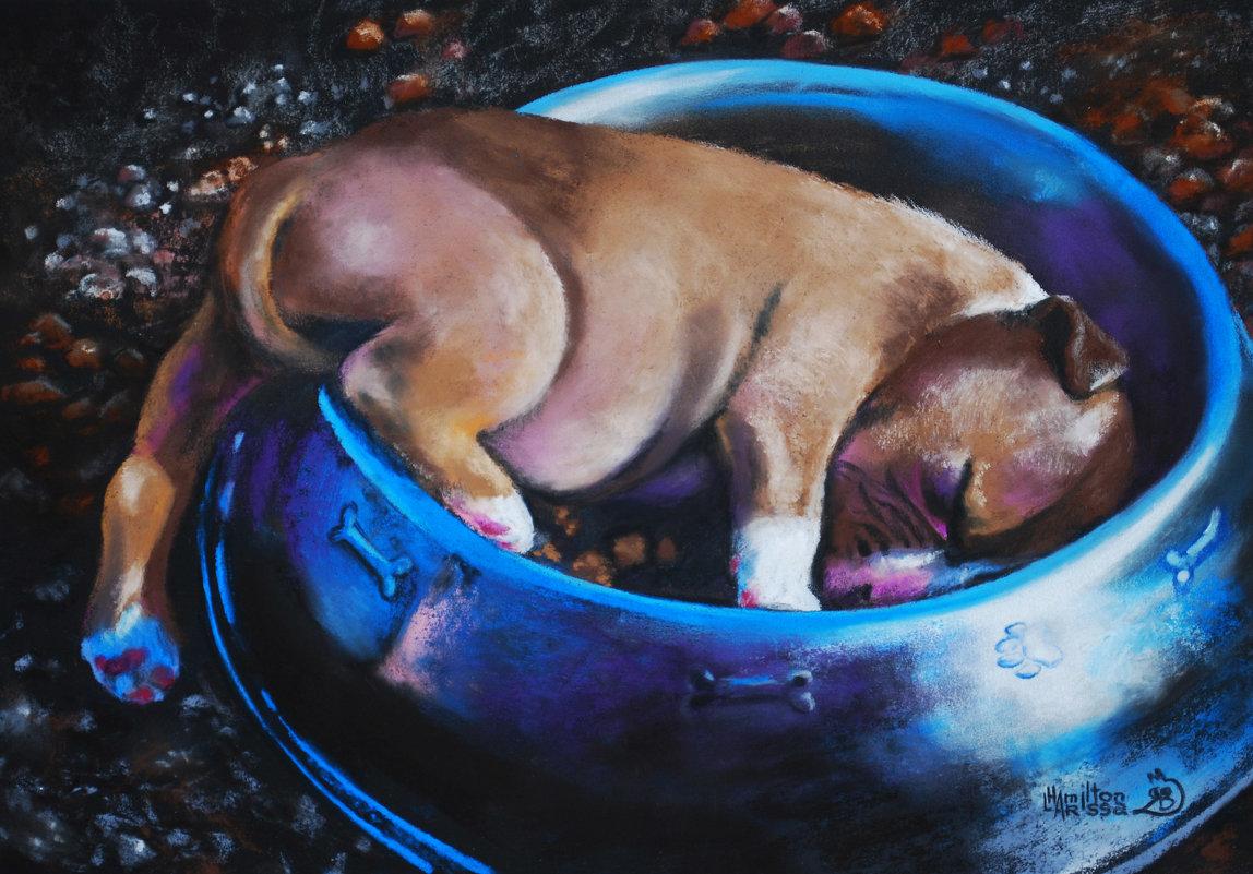 """Natalia Nm придумала название для этой картины:""""Спят усталые игрушки, Карапуз уснул в кормушке. - Лара Гамильтон"""