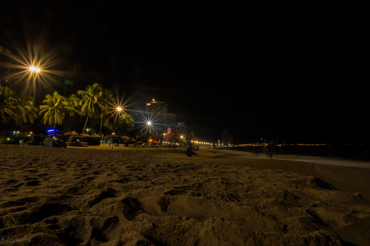 Ночная съемка на пляже
