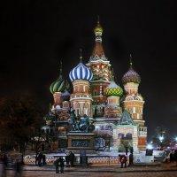 моя Столица ночная Москва(Храм Василия Блаженного) :: юрий макаров