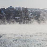 Туман над рекой Иртыш р.н Усть-Каменогорская ГЭС :: Андрей Акулинин