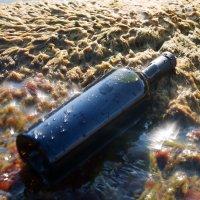Бутылка с вином на морском берегу. :: Александр Малышев