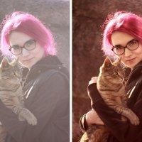 девочка с котом (до и после) :: Veronika G