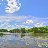 Красивые облака над рекой.(панорама) :: Vladimir Kushpil