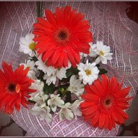 Букет гербер, альстромерий и  хризантем для Вас в подарок собран... :: Нина Корешкова