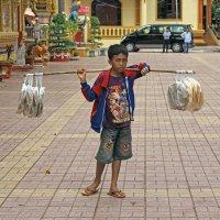 Лаос. Вьентьян. Уличный торговец :: Владимир Шибинский