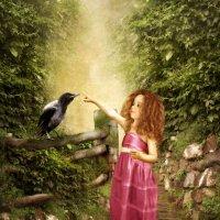 Девочка и вороненок :: Маргарита Нижарадзе