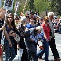 Шествие бессмертного полка. Бабушка и те, кто ей помогает вызывают уважение! :: cfysx