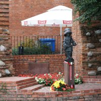 Памятник юному повстанцу, мальчишке в огромной каске и с автоматом в ручонках :: Елена Павлова (Смолова)