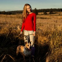 Прогулка с собакой :: Анастасия Кусаметова