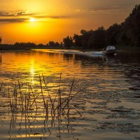 На оранжевом закате прокатиться по реке :: Алена Рыжова