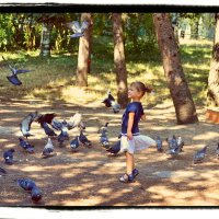 Девочка и голуби :: Nina Streapan
