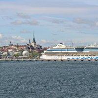 Вид на Старый Таллин и порт с моря :: Олег Попков