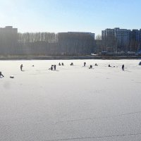 Первые рыбаки , не боящиеся тонкого льда . :: Мила Бовкун