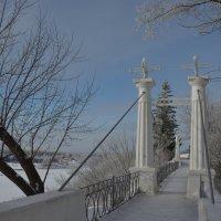 Дорожка к висячему мосту в зимнем парке :: Сергей Тагиров