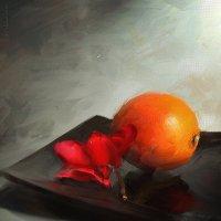 Этюд с апельсином и алым цветком. :: Аnatoly Polyakov