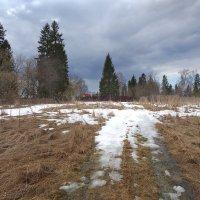 Снежок под ногами,небо с облаками :: Валерий Талашов