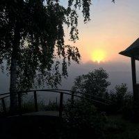 Туманное деревенское утро. :: Пётр Сесекин