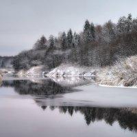 Первый снег...зарисовки..река Теза... :: leonid
