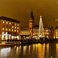 Вечерний Гамбург перед Рождеством (серия). Ратуша и огни на озере Альстер :: Nina Yudicheva