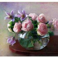Букетик с розами и клематисами :: lady-viola2014 -