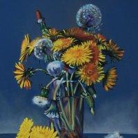 Одуванчик-солнышка портретик на Земле. Расцветает первым, радуясь Весне. (Картина написана пастелью) :: Лара Гамильтон