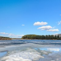 Весенний лед и пятна солнечного света. :: Александр Рукомойкин