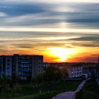 Панорама - Улетает солнце за плоский горизонт :: Анатолий Клепешнёв