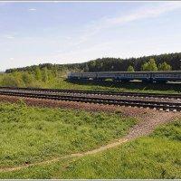 Пейзаж с пригородным поездом. :: Роланд Дубровский