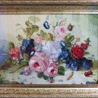 Вышивка гладью: натюрморт с розами и виноградом (выставка мастериц-вышивальщиц) :: Ирина Лушагина