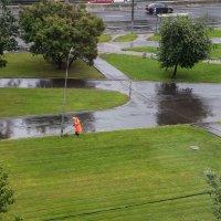 Одинокий подстригатель газонов в летний дождливый день и фонарь :: Павел Myth Буканов