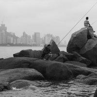 Рыбаки-любители на фоне острова Гонконг :: Sofia Rakitskaia
