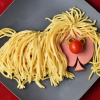 Из вермишельки пёсик, помидоркой носик... Мордашка из колбаски, из оливок глазки. :: Лара Гамильтон