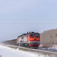 Грузовой поезд под тепловозом 2ТЭ10М-2809 на перегоне Буланиха-Зональный :: Иван Зарубин