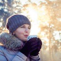 Утро, минус 23, горячий чай, восход солнца :: Антон Криухов