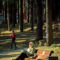 В Парке на лавочке с любимой книгой. :: Вадим Басов