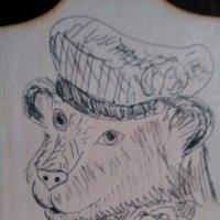Декоративный медведь. (Рисунок тушью по дереву). СПб, 2018 г. :: Светлана Калмыкова