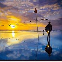 Прогулка в ожидании волны.  (работа выполненная на графическом планшете Huion.) № 55 :: Anatol Livtsov