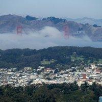 В тумане видны только опоры моста Золоты́е Воро́та (Golden Gate Bridge). :: Юрий Поляков