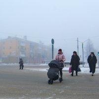 Туманный полдень, пешеходный переход. :: Михаил Полыгалов