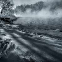 Морозный закат на реке... :: Андрей Войцехов