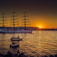 Закат, порт, Варна :: SERGEY KRISTEV