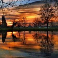 декабрьский закат на реке Ааре :: Elena Wymann