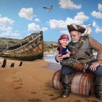 Старый пират и внук. Коллаж. :: Владимир Гурьянов