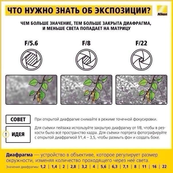 Смысл таблицы в том, чтобы показать, что при разных значениях выдержки-диафрагмы значение экспозиции может быть